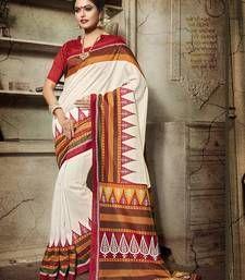 Buy Off white printed bhagalpuri silk saree With Blouse bengali-saree online