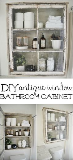 DIY Bathroom Cabinet, made from a vintage window. A great rustic/industrial furniture project. Awesome idea! Luv it! funfamliving.com
