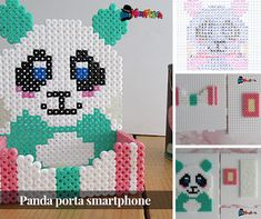 Panda porta cellulare con perline da stirare - Kreattivablog 3d Perler Bead, Perler Bead Templates, Hama Beads Design, Diy Perler Beads, Pearler Beads, Melty Bead Patterns, Perler Patterns, Beading Patterns, Beaded Animals