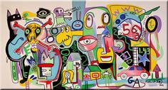 "54"" HUGE ABSTRACT Modern ART PAINTING ""MIND SWEEPER"" by RAEART"