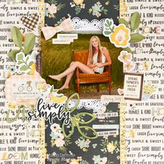 Live Simply - A scrapbook. layout created with the Simple Stories Spring Farmhouse collection and digital cut files from JustNick Studios Scrapbook Journal, Scrapbook Paper, Scrapbook Layouts, Scrapbooking Ideas, Farmhouse Layout, Spring Color Palette, Image Layout, Decorative Bows, Simple Stories