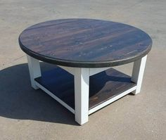 This farmhouse coffee table features a dark walnut stained top and lower shelf and a white distressed skirt and legs. It comes in 2 sizes; 30 x 30 x 17 and 36 x 36 x 17. Prices vary for each size This table will come disassembled and will include necessary hardware and detailed