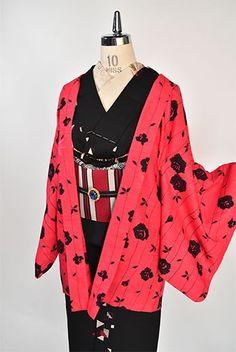ポピーレッドと黒のバイカラー薔薇の花ストライプ美しいレトロ羽織 - アンティーク着物・リサイクル着物のオンラインショップ 姉妹屋
