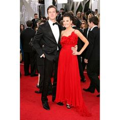 Elizabeth Chambers Red Custom Formal Dress at 2011 Golden Globe Awards Red Carpet