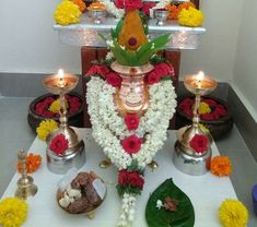 Varalakshmi Vratham 2019 honours the most popular Goddess Maha Lakshmi. Varalakshmi Puja or homam on this day means abundant wealth is sure to come your way. Diwali Decorations At Home, Festival Decorations, Birthday Decorations, Wedding Decorations, Flower Decorations, Kalash Decoration, Ganpati Decoration Design, Temple Design For Home, Silver Pooja Items