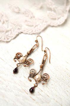 Vintage garnet earrings wire wrapped earrings with by IrenAdler