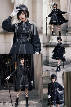 Cosplay Outfits, Anime Outfits, Cool Outfits, Old Fashion Dresses, Fashion Outfits, Aesthetic Fashion, Aesthetic Clothes, Mode Lolita, Looks Black