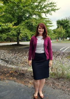 from just jacq: Berry Cardigan, White and Navy Stripe Top, Navy Pencil Skirt, Brown Flats