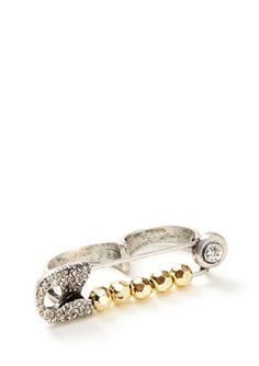 BCBGeneration Silver/Gold Double Finger Safety Pin Ring