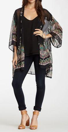 WEST KEI | Scarf Print Kimono Cardigan