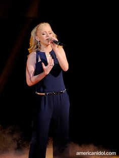 Hollie Cavanagh, in a @BCBGMAXAZRIA jumpsuit, on #AmericanIdol Top 4