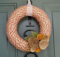 Yarn Wreath Felt Handmade Door Decoration - Tan and Red 8in. $35.00, via Etsy.