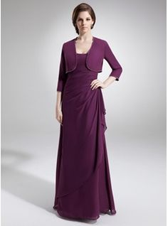 A-Line/Princess Scoop Neck Floor-Length Chiffon Mother of the Bride Dress With Ruffle Beading Split Front Cascading Ruffles