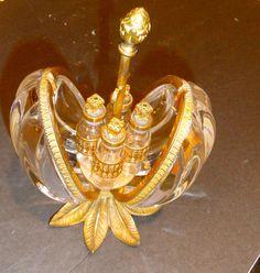 Antique Bronze & Crystal opening Perfume Holder, Egg