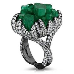 Emerald Crystal and Diamond Ring