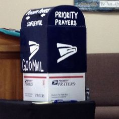 "Prayer box at church...""Priority Mail"""