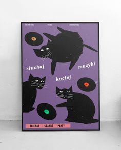 Plakat Słuchaj kociej muzyki, Zasada, lateks