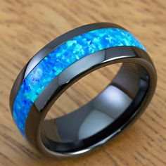 Black Ceramic + Blue Opal // 8mm (Size 5)