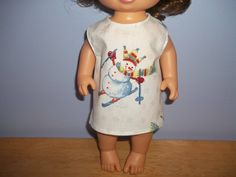 Baby 12 inch Alive doll handmade dress white with Snowmen on it by sue18inchdollclothes on Etsy