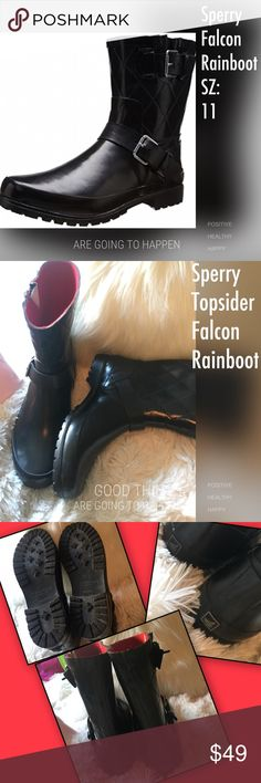 NWOT Sperry Falcon Rainboot NWOT (no box) Sperry rain boot. A pair of brightly buckled straps style shiny rain boots. Sperry molded from waterproof rubber lined in soft material. Pull on style boot. Sperry Top-Sider Shoes Winter & Rain Boots