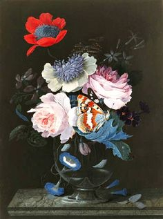 Peter Brown, Vase with Oriental Poppy, Peony, Rose and Bindweed with Butterflies, 18th century
