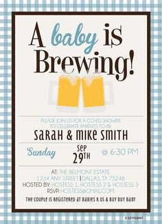 Baby is Brewing Beer Mugs Customizable Baby Shower by KateOGroup