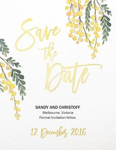 Golden Native - Save The Date. This incredible Golden Native collection by independent Aussie designer James Boston was influenced by The beauty of the Australian bush and would look great for those planning a Floral Australian Native Flowers, Australian Bush, Invitation Ideas, Invites, Wedding Invitations, Foil Save The Dates, Save The Date Cards, Thank You Card Design, Thank You Cards