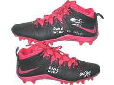 180f12d76 Trevin Wade New York Giants Game Worn   Signed Black   Pink Breast Cancer  Awareness Nike Huarache Cleats - Worn in Thrilling 30-27 Win Over San  Francisco ...