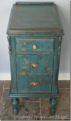 Vintage vanity nightstand painted in Aubusson Annie Sloan Chalk Paint by sonya