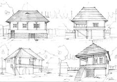 House Sketches by on DeviantArt Simple House Sketch, House Sketch Design, Simple House Design, Family House Plans, Cottage House Plans, Architecture Sketchbook, Architecture Design, White Exterior Houses, Small House Interior Design
