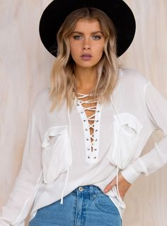 Sea Of Air Lace Up Blouse
