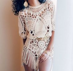 jumpsuit playsuit lace lace playsuit crochet playsuit fringe franges blouse sweater boho fashion style top shirt boho chic trendy fall outfits summer dress summer outfits outfits dress