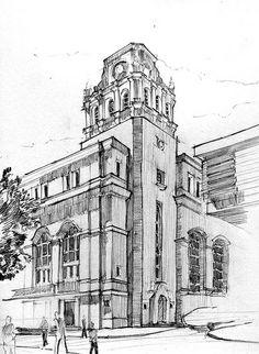 Dibujo del Edificio Metrpolis de Madrid Dibujo a lpiz 15 x 15