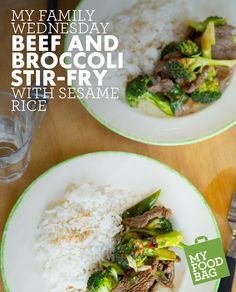 Beef and Broccoli Stir-Fry with Sesame Rice. Quick, healthy and yummy recipes for you and your little ones. http://www.myfoodbag.com.au/my-food-bags/family
