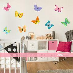 (3579f) Nálepka na stenu - Farebné motýliky   ARTSABLONY.SK