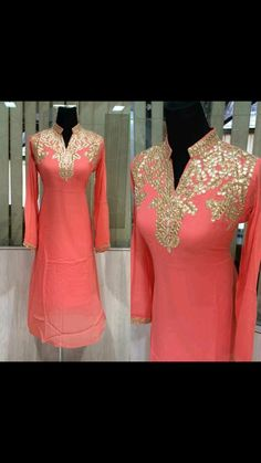 Classy Peach Colored Suit in Pure Creap With Hand Worked