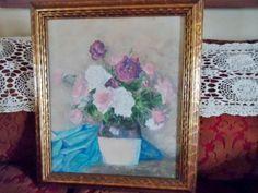 Indiana Artist Lola Saint John Original Floral Pastel Still Life Hoosier Salon Listed Painting