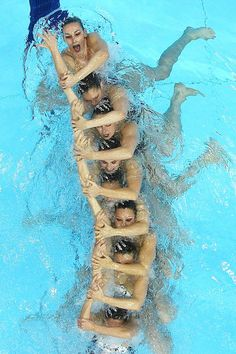Synchronized swimming    France competes in the Team Technical routine during the FINA Olympic Games Synchronized Swimming Qualification event at the London Aquatics Centre in London, England.