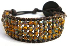 Natural Stone Beaded Leather Wrap Bracelet Chan by WrapsForever, $17.00