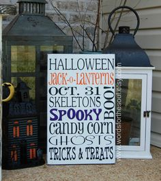 Halloween  Sign Autumn Fall Typography Subway Art by WordsForTheSoul