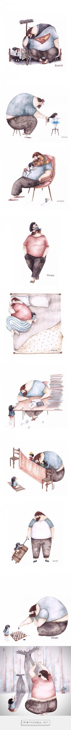 Illustrations about The relationship between Do-it -all Dads And Their Little Girls - Snezhana Soosh, a young painter, has drew beautiful watercolor paintings Children's Book Illustration, Watercolor Illustration, Watercolor Paintings, Art Graphique, Art Plastique, Poster, Illustrators, Art Drawings, Little Girls