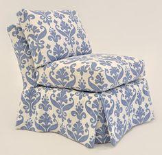 Quatrine Custom Furniture - Harlow Slipcovered Chair #blue #damask #slipper #chair #slipcover #washable #armless #custom