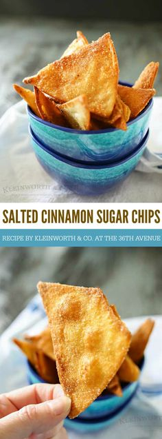Salted Cinnamon Sugar Chips are easy homemade tortilla chips dusted with delicious cinnamon & sugar & a hint of sea salt. Perfect for dipping in a dessert or dunking in a warm bowl of chocolate sauce.