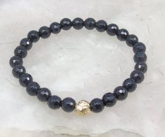 Black Onyx Bracelet 6 mm Faceted Round Glossy by jivanmuktijewelry