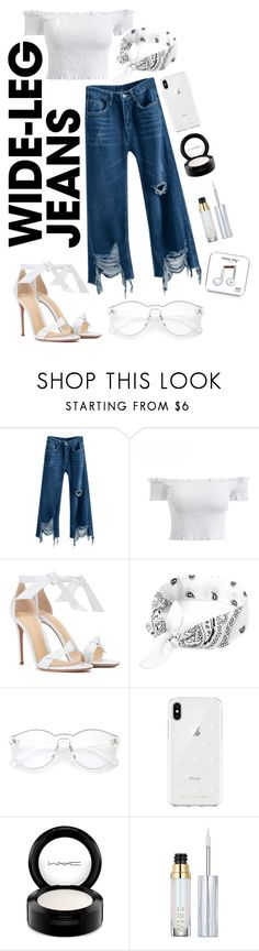 """Flare jeans"" by valedinton ❤ liked on Polyvore featuring Alexandre Birman, Rebecca Minkoff, MAC Cosmetics, Urban Decay, Happy Plugs, denimtrend and widelegjeans"