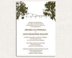 Cafe Lights Wedding Invitations, Wedding Invites, Reception Invitations - Deposit towards your custom order. $25.00, via Etsy.