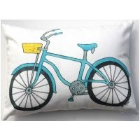 Beach Bike Blue Pillow