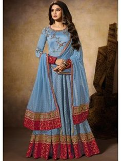 Bollywood diva jennifer winget blue embroidered anarkali suit online which is crafted from silk fabric with exclusive embroidery and stone work. This stunning designer anarkali suit comes with santoon bottom and organza dupatta. Robe Anarkali, Costumes Anarkali, Anarkali Tops, Silk Anarkali Suits, Lehenga Choli, Salwar Suits, Designer Anarkali, Saris, Salwar Kameez