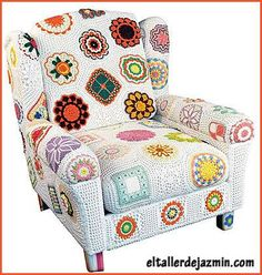 Crochet motifs make this a fun and funky chair. ~ I'm going to crochet bomb at least one of my chairs now! Crochet Motifs, Crochet Art, Love Crochet, Beautiful Crochet, Crochet Crafts, Crochet Projects, Crochet Potholders, Vintage Potholders, Crocheted Afghans