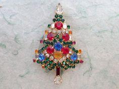 WARNER Gold Tone Multicolored Rhinestone Christmas Tree Brooch AB768 by MeyankeeGliterz on Etsy